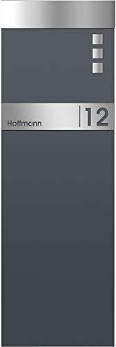 Frabox Standbriefkasten NAMUR in anthrazitgrau RAL 7016 / Edelstahl mit Hausnummer & Namen