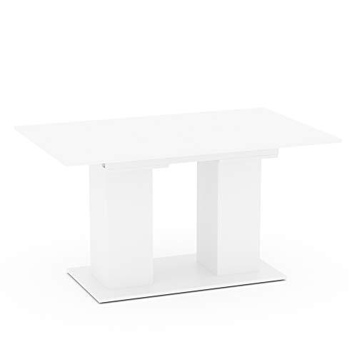 Vicco Esstisch DIX 90 x 140cm - 180 cm Esszimmertisch ausziehbar Küche Tisch (Weiß)