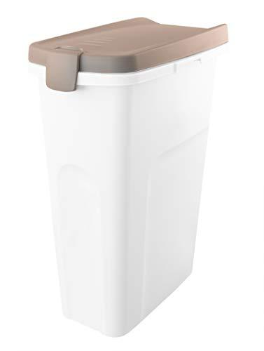 BigDean Futterbehälter in Grau 40 Liter mit Rädern - Verbindbar und inkl. Gummiring - ca. 61x44,5x27 cm - Ideal für Tierfutter, Küche und Haushalt