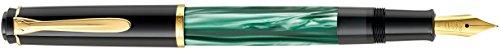 Pelikan 983411 Kolbenfüllhalter Classic M200, vergoldete Edelstahlfeder, B, grün-marmoriert