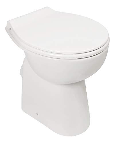Calmwaters - Spülrandloses Stand-WC im Komplettset mit Toilettendeckel als Tiefspüler und Erhöhung von 7 cm - 07AB3134