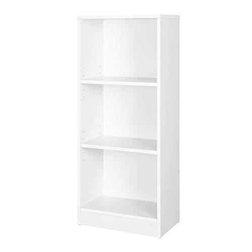 VASAGLE Bücherregal mit 3 Fächer, verstellbare Einlegeböden, Weißes Regal, Aktenregal für Wohnzimmer, Kinderzimmer und Heimbüro, 40 x 93 x 24 cm (B x H x T) LBC103W