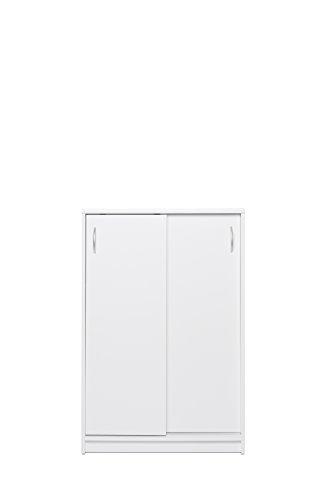 Schiebetürenschrank mit Aluminium-Laufschiene / Aktenschrank (B/H/T: ca.: 74 x 111 x 39 cm) Topplatte 22 mm gesoftet, (Melaminharzbeschichtet - kratzfest & wasserabweisend) weiß