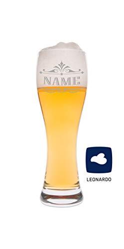 Leonardo Weizenglas mit Wunschname Gravur - Geschenk für Männer ideal als Vatertagsgeschenk 0,5l Bierglas Weizenbierglas als Geburtstagsgeschenk für Männer