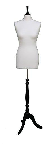 Deluxe-Größe 14weiblich Schneiderpuppe Schneiderbüste Büste Schaufensterpuppe creme Jersey schwarz Holz Stativ Ständer