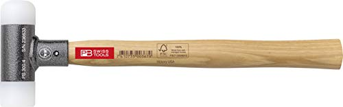 PB Swiss Tools Kunststoffhammer PB 300 mit Stiel aus Hickory-Holz, Rückschlagfrei, 100% Swiss Made, Lebenslange Garantie, 391g, Größe 3
