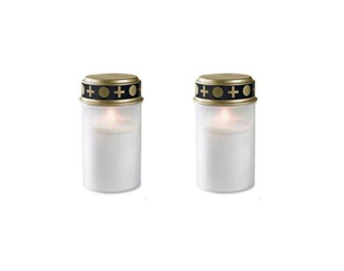 Fachhandel Plus LED-Grablicht Weiss Ewiges Licht Grabkerze 2er Set mit Batterien Flackereffekt