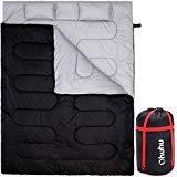 Ohuhu Groß Doppelschlafsack 220 x 150cm Erwachsene Deckenschlafsack mit 2 Gratis Kissen und eine Tragetasche, vier Doppel Zippern, Angenehme Temperatur: 0 ° C/ 32F ~ 10 ° C/ 50F für Camping