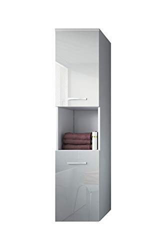 Badplaats B.V. Badezimmer Schrank Montreal 131 cm Weiß Hochglanz Fronten – Regel Schrank Hochschrank Schrank Möbel