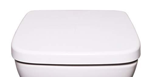 Bullseat 6.1 WC Sitz weiß eckig • passend zu Keramag Renova Nr. 1 Plan • Absenkautomatik/Softclose • abnehmbar • click n' clean • Toilettendeckel überlappend • Klobrille • hochwertiges Duroplast