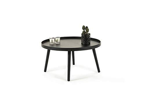 LIFA LIVING Runder moderner Couchtisch aus MDF-Holz, Niedriger Beistelltisch für Wohnzimmer und Schlafzimmer in Schwarz, Belastbarkeit bis zu 20 kg, 32 x Ø 60 cm