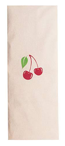 Zollner24 Kirschkernkissen ca. 20x53 cm, abnehmbarer Bezug aus Baumwolle, natur mit Kirschaufdruck