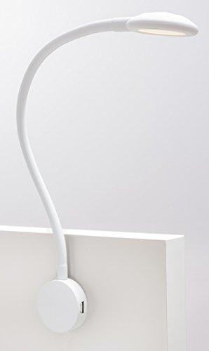 LED Bettleuchte + USB Ladeg. TOUCH Bettleuchten Leseleuchte Leselicht Ladegerät, Farbe:Weiß