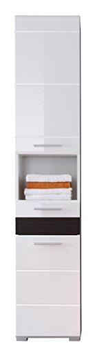 trendteam smart living Badezimmer Hochschrank Schrank Mezzo, 37 x 182 x31 cm in Weiß Hochglanz