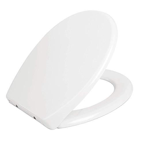 HOMFA WC Sitz mit Absenkautomatik Toilettendeckel Duroplast Toilettensitz mit der Softclose-Funktion Antibakteriell Weiß O-Form