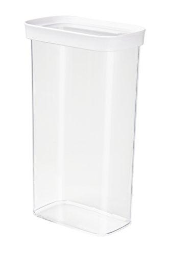 Emsa 515007 Stapelbare Vorratsdose für Trockenvorräte, 100 % Keimfrei, Volumen 2.8 Liter, Rechteckig, Weiß/Transparent, Optima