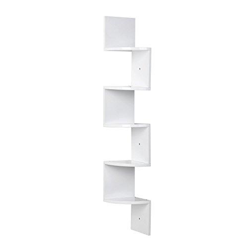 HOMFA Eckregal Zickzackregal Hängeregal Büroregal Bücherregal Raumteiler Wandablage Wandboard 5 Regalböden weiß hochglänzend Belastbarkeit bis ca.15kg 20x20x123cm