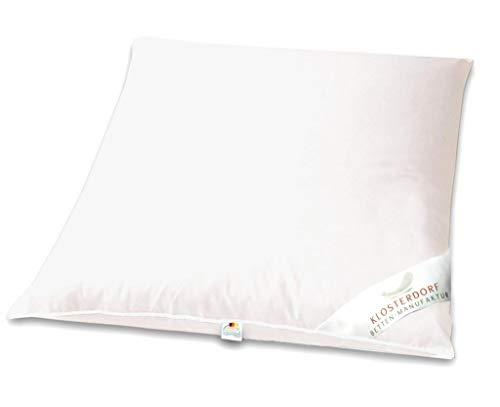 Klosterdorf Bettenmanufaktur Premium Kopfkissen ''Propper'' | 80x80 cm | 1100 Gramm | mittel | Handarbeit aus Deutschland | Für einen gesunden Schlaf