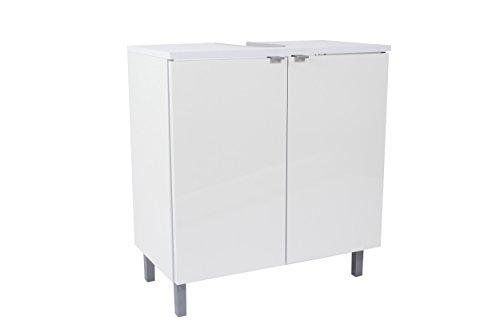 SAM Bad-Unterschrank Milan, in Hochglanz weiß, mit 2 Türen & Siphonausschnitt, pflegeleichtes Badmöbel, Waschtischunterschrank 70 x 65 x 50 cm