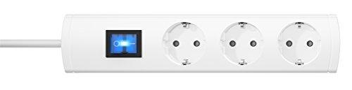 Kopp 232502006 Unoversal Plus Steckdosenleiste 3-fach, 1,4 m Kabel, 90° gedrehte Töpfe, großer Steckdosen-Abstand, anschraubbar, beleuchteter Schalter, erhöhter Berührungsschutz, weiß