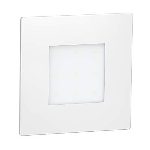 ledscom.de LED Treppen-Licht FEX Wand-Einbauleuchte, weiß, eckig, 8,5x8,5cm, 230V, warmweiß