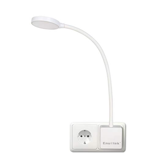 Weiß LED Steckdosenlampe Steckerleuchte Leselampe Dimmbar mit Stecker und Schalter Touch 4W 350Lm Natürliche weiße Beleuchtung 5000K Nicht Ferngesteuerte Version von Enuotek