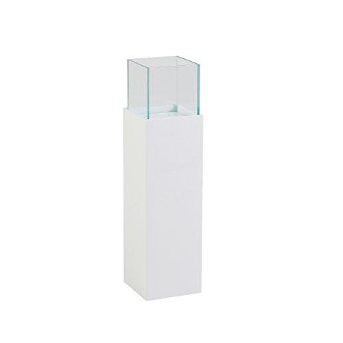 greemotion Windlichtsäule Hochglanz-Blumensäule aus Glas-Pflanzsäule Innen & Außen-Dekosäule für Den Garten-Windlicht Säule 15x15x60 cm, Metall, Weiß, S