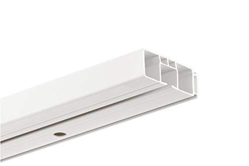 HUGG-Vorhang-Schiene (VS.380.1) 1-/ 2-/ 3- Lauf, Decken-Montage, Ihre Auswahl: 1-Lauf - Länge: 80 cm