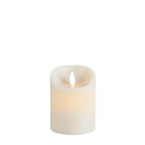 Sompex 35129 Flame Echtwachs LED Kerze, Fernbedienbar und integrierter Timer, elfenbein, 8 x 10 cm