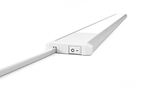 LED Küchenunterbauleuchte Flat | 90 cm | LED Lichtleiste | Unterbauleuchte | SCL90 | 15W | 4.000 K neutralweiß | sehr flach | Aluminium