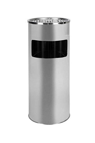 Metlex - Standaschenbecher für draußen Mülleimer mit Aschenbecher Abfalleimer mit Inneneimer -Silver (MX2076 SL)