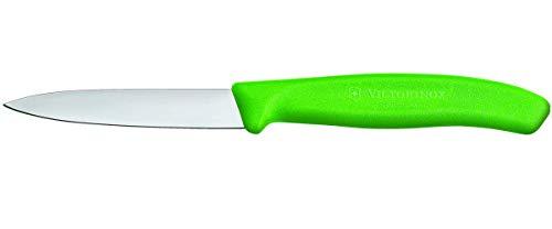 Victorinox Küchenmesser für Gemüse (8cm Klinge, Rutschfester Griff, Mittelspitz, Edelstahl, Spülmaschinengeeignet) grün