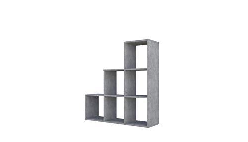 Polini Home Treppenregal Stufenregal Raumteiler Aktenregal Regal Beton 6 Fach