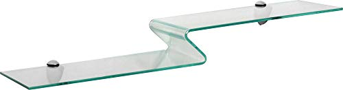 ib style ZETTINO Designglas 6mm   Glasregal   inkl. Classico Clips Edelstahloptik   2 Größen   65x12cm