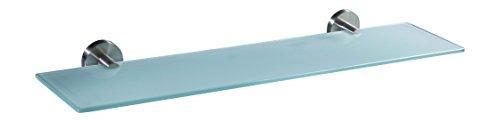 Ambrosya | Exklusive Ablage aus Edelstahl und Glas | Bad Badablage Badezimmer Badregal Glasablage Glasregal Halter Halterung Handtuch Handtuchhalter Wandregal (Edelstahl (Gebürstet), 50 cm x 12 cm)
