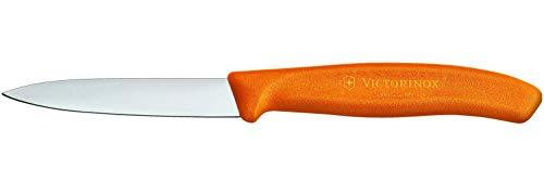 Victorinox Küchenmesser für Gemüse (8cm Klinge, Rutschfester Griff, Mittelspitz, Edelstahl, Spülmaschinengeeignet) orange