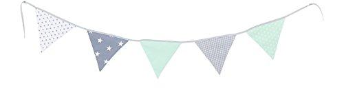 ULLENBOOM  Wimpelkette Mint Grau (Stoff-Girlande: 1,9 m Länge, 5 Wimpel, farbenfrohe Deko für Kinderzimmer & Baby Geburtstage, Motiv: Sterne)
