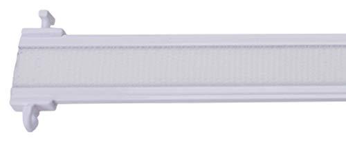 Stylelex Premium Paneelwagen mit Klettband - kürzbar - mit Universal-T-Gleitern für 4 & 6 mm Läufe - weiß aus Aluminium - mit eingefalztem Klettband (60 cm)