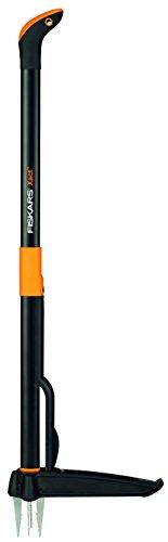 Fiskars Unkrautstecher, Länge 1 m, Rostfreie Stahl-Arme/Kunststoff-Griff, Schwarz/Orange, Xact, 1020126