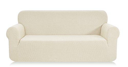 Ebeta Elastisch Sofa Überwürfe Sofabezug, Stretch Sofahusse Sofa Abdeckung Hussen für Sofa, Couch, Sessel 3 Sitzer (Cremefarbe, 185-235 cm)