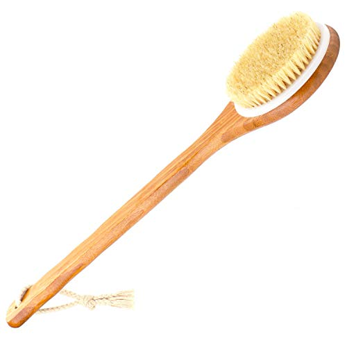 THETIS Homes Badebürste Rückenbürste aus Wildschweinborsten mit Langem Bambus Griff, Rückenschrubber Holzstiel Duschbürste für Haut-Peeling, für Verbesserung der Blutzirkulation, Cellulite Massage