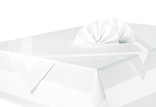 ZOLLNER Vollzwirn Damast Tischdecke weiß 130x220 cm mit edlem Atlasstreifen, in verschiedenen Größen erhältlich, vom Hotelwäschespezialisten, Serie 'Rialto'