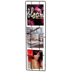 Capventure, Cabanaz - Zeitschriften-Wandhalter, 3 Faecher, Maße: H 98cm x B 28cm x T 7cm, Schwarz, Stahl (1002672)