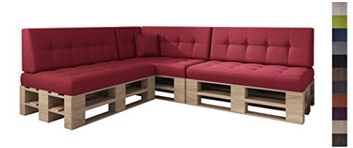 sunnypillow Palettenkissen Kaltschaum Palettenauflage Palettenpolster Palettensofa Sitzkissen Rückenlehne gesteppt 8er Set Red