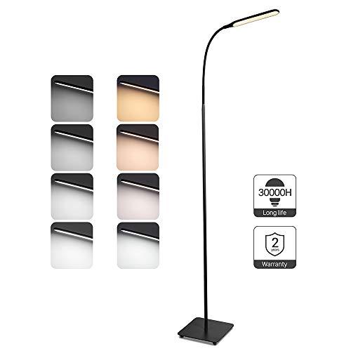 TaoTronics Stehlampe LED Dimmbar 10W Stehleuchte 4 Farbmodi 5 Helligkeitsstufen Modern Bodenlampe zum Lesen und Arbeiten Flexibler Schwanenhals Standleuchte Toll für Wohnzimmer Schlafzimmer