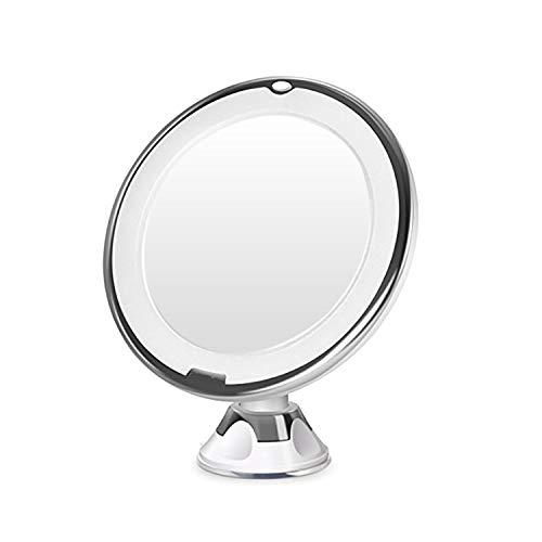 MALFI Kosmetikspiegel LED beleuchtet 10-Fach Vergrößerung, mit Saugnapf, 360 Grad dreh/schwenkbar Make-up Spiegel Schminkspiegel