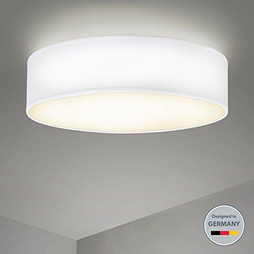B.K.Licht Deckenleuchte 3-flammig Stoffleuchte weiß rund Stoff Deckenlampe Deckenstrahler Schlafzimmerleuchte Wohnzimmerleuchte