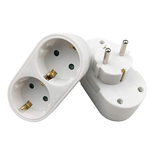 annotebestus 2er Steckdose, 1 Bis 2 16A EU-Steckdose Adapter, AC 250V 50Hz 1 zu 2 EU/DE Stecker, Feuerhemmendes ABS