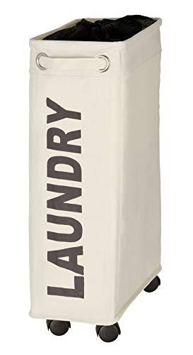 Wenko 3450114100 Wäschesammler Corno beige - Wäschekorb, Fassungsvermögen 43 L, 100 % Polyester, 18,5 x 60 x 40 cm, beige