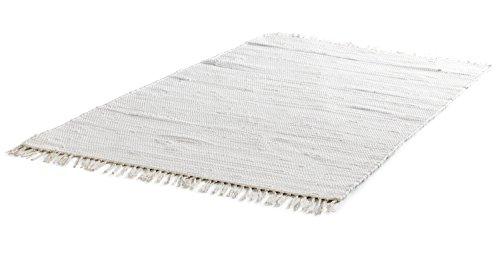 Flickenteppich Wohnzimmerteppich Handwebteppich Franken Natur | 60x110 cm | Natur | Baumwolle